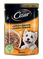 Hrana umeda completa pentru caini adulti cu pui si legume Cesar 100g