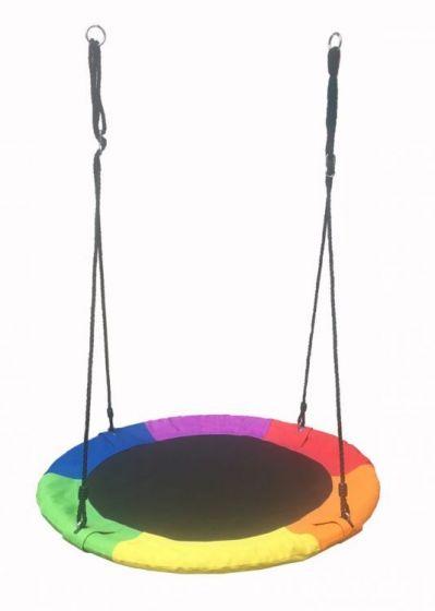 Leagan Balansoar Rotund Tip Cuib Pentru Curte Gradina Sau Terasa Capacitate Maxima 150kg Diametru 100cm Multicolor Carrefour Romania