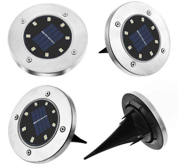 Set 4 Lampi Solare Cu Senzor De Lumina Si 8 Leduri Cu Fixare In Sol Carrefour Romania