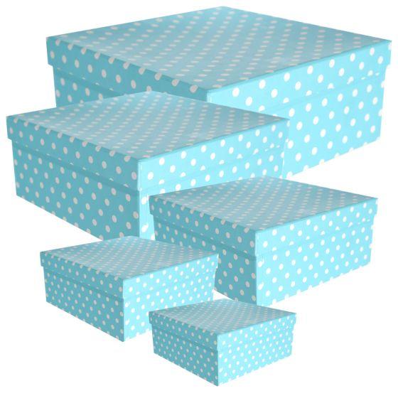 Set 5 Cutii Pentru Cadouri Carton 3 Mm Model Bleu Cu Buline